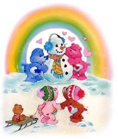 Care Bears: Grumpy, Love-a-Lot, Cheer and Tenderheart Bear with a Snowman