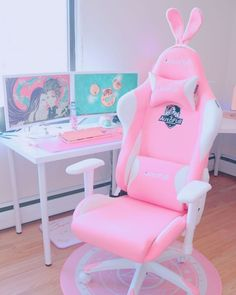 Cute Room Ideas, Cute Room Decor, Bedroom Setup, Room Ideas Bedroom, Gaming Room Setup, Gaming Chair, Pink Games, Kawaii Bedroom, Otaku Room