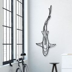 Shark Wooden Wall Art - Display your love of the deep blue sea with the Shark Wooden Wall Art! A fitting tribute to the magnificence of the most feared underwater predator, this designer wall art 3d Wall Art, Wooden Wall Art, Wooden Walls, Wall Art Sculpture, Wire Wall Art, Colorful Wall Art, Unique Wall Art, Metal Walls, Wooden Signs