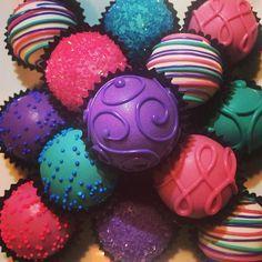 Jewel toned cake balls.