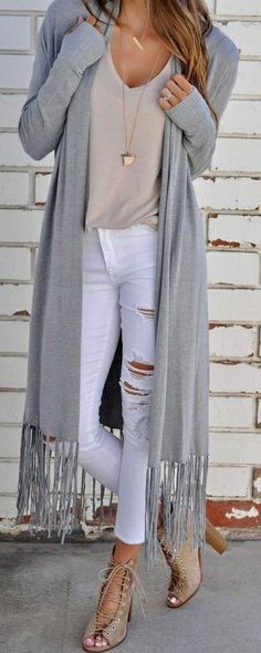 nude top, long gray cardigan with fringe, white distressed jeans, nude lace up booties. #style #fashion #outfit
