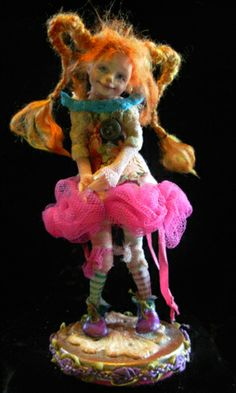 Pippi Longstocking Doll by B. Tiny Dolls, Ooak Dolls, Dollhouse Dolls, Miniature Dolls, Paradise Lost Book, Pippi Longstocking, 3d Figures, Polymer Clay Dolls, Creature Feature