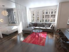 Studio Apartment Living, Studio Apartment Layout, Studio Apartment Decorating, Studio Living, Dream Apartment, Studio Apartment Divider, Tiny Studio Apartments, Modern Studio Apartment Ideas, Small Apartment Interior Design
