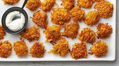 Easy sweet potato latkes are a nice twist on the traditional Hanukkah dish.
