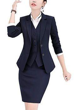 Women's Three Pieces Office Lady Blazer Suits Business Suit Set Women Suits Work Jacket,Vest&Skirt Suits Business Outfits, Business Attire, Business Suits For Women, Business Formal, Look Office, Office Wear, Office Outfits, Stylish Office, Casual Office