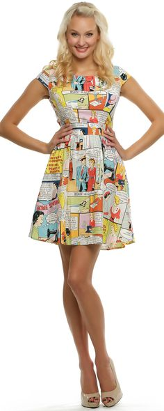 Folter Sewing Made Easy Comic Book Dress - Unique Vintage - Pinup, Holiday & Prom Dresses.