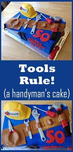 Tools Rule- A handyman's cake. Tools Rule- A handyman's cake. Cupcakes, Cupcake Cakes, Just Cakes, Cakes For Boys, Dad Cake, Cake Decorating, Decorating Ideas, Tool Cake, Cake Fondant