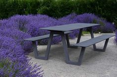 Our PICNIC table in the middle of a sea of lavender - What's not to love? Landscape Architecture, Landscape Design, Architecture Design, Garden Design, Urban Furniture, Street Furniture, Outdoor Furniture, Sustainable Furniture, Public Seating