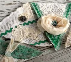 Shabby Christmas Banner Rustic Home Decor Green and by 0namesleft