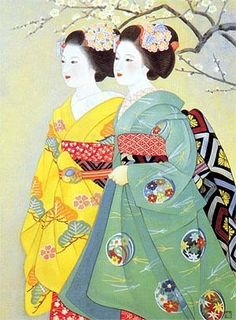 Beautiful and colorful Geisha art