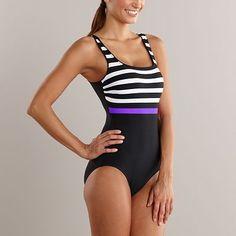 Getting better. Reebok Striped One-Piece Swimsuit
