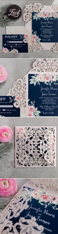 Gorgeous navy and blush pink floral watercolor wedding invitation EWDK002 start from $2.39 per