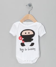 White 'Ninja in Training' Organic Bodysuit - Infant | Daily deals for moms, babies and kids.  http://www.zulily.com