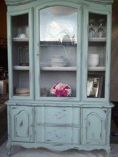 Im ordering paint today Distressed Furniture ASCP Blue Distressed Duck Egg Furniture Inspiration ordering Paint Today White Painted Furniture, Distressed Furniture, Paint Furniture, Repurposed Furniture, Furniture Projects, Kitchen Furniture, Painted Hutch, Family Furniture, Kitchen Dresser