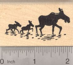 Moose Cow Silhouette with Twin Calves Rubber by Rubberhedgehog, $9.00