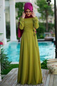 Muslim Dress, Hijab Dress, Hijab Outfit, Moslem Fashion, Hijabi Girl, Hijab Fashion Inspiration, Khaki Dress, Hijab Style, Abaya Designs