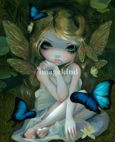 """Lily""+by+Jasmine+Becket-Griffith,+Celebration,+Florida+//+'Lily'+-+one+of+my+special+debut+paintings+for+FaerieCon+2012.+The+original+itself+sold+at+the+show+but+I+have+prints+&+posters+available!+We+have+so+many+waterlilies+and+little+spots+like+this+around+where+I+live+in+Florida+-+they+are+everywhere,+especially+hanging+out+arou...+//+Imagekind.com+--+Buy+stunning+fine+art+prints,+framed+prints+and+canvas+prints+directly+from+independent+working+artists+and+photographers."