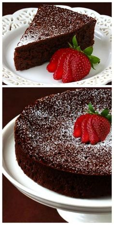 3 ingredient flourless chocolate cake -- decadent, delicious, and made with just eggs, butter and chocolate! Desserts Keto, Just Desserts, Delicious Desserts, Dessert Recipes, Yummy Food, Passover Desserts, Healthy Cake Recipes, Dessert Healthy, Cold Desserts
