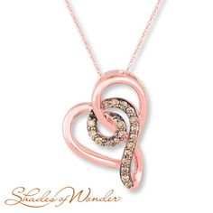 Shades of Wonder Necklace 1/8 cttw Brown Diamonds 10K Rose Gold
