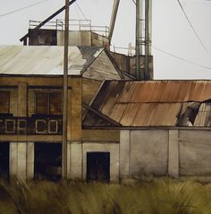 """Mill & Elevator Co. by Joseph Alleman Watercolor ~ 21.5"""" x 21.5"""""""