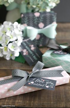 Mother's Day Gift Tags and Gift Wrap in Pretty Mint and Blush