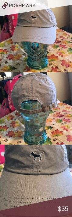 BNWT VS PINK ADJUSTABLE BASEBALL HAT BNWT VS PING ADJUSTABLE BASEBALL HAT Clay gray colored with black embroidered dog on the front I DO NOT TRADE PINK Victoria's Secret Accessories Hats