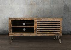 Reciclado madera Media consola / soporte de la TV, reciclado de muebles de…