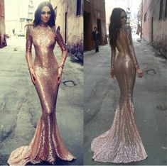 Rose Gold Prom Dress,Mermaid Prom Dress,Backless Prom Gown,Backless Prom Dresses,Sexy Evening Gowns,Sequins Evening Gown,Open Back Evening Gown With Long Sleeves Dress For Teens