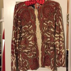 Red Paisley Cardigan This is a gently used sweater made from pure Italian Merino.  No stains or holes. It is a 1x Woman's Petites. Talbots Sweaters Cardigans