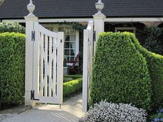 Beautiful garden gate with boxwood hedge.