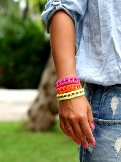 Chunky Chain & Color Bracelet. Bright Neon Palette. by makunaima, $17.90