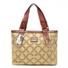 Coach Borough Logo In Signature Large Khaki Totes BQN