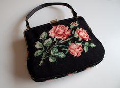 1960s Vintage - Roses & Black Needlepoint Carpet Bag | Shoulder Bag | Purse - Medium Sized by SweetLoveofMinecom on Etsy