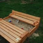 A great way to keep the critters out of the sandbox and serve double duty as seating