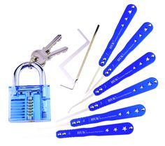 Practice Lock Set Cutaway Inside View Padlocks with 2 keys 7 Pick Tools Kit Various Picks Crochet Hook