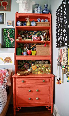 Vanity bureau w/ jewelry storage (mounted art with hooks to the right) | Aunt Peaches - Maximalist Style Outside of Chicago | Design*Sponge Apartment Living, Living Room, Used Iphone, Bedroom Storage, Thrifting, Bedroom Colors, Color Inspiration, Liquor Cabinet, Elegant