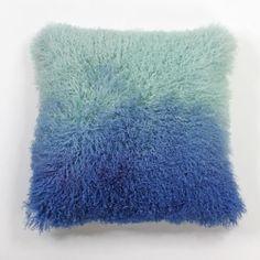 Real Genuine Mongolian Tibetan Goat Lamb Fur Pillow Blue Tie Dye | theshed - Housewares on ArtFire