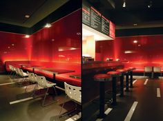 Rocco's Pizza, luxury interior glass painted red