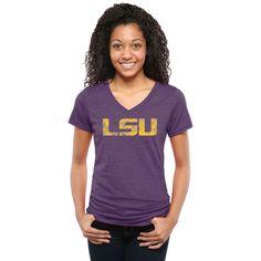 LSU Tigers Women's Classic Primary Tri-Blend V-Neck T-Shirt - Purple