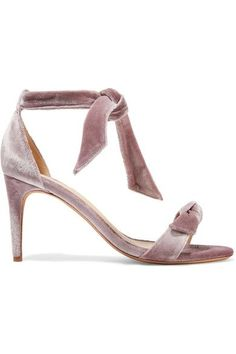 ALEXANDRE BIRMAN Clarita Bow-Embellished Velvet Sandals. #alexandrebirman #shoes #sandals