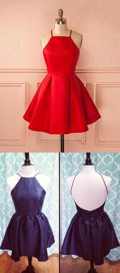 2017 short red homecoming dress prom dress, navy blue short prom dress homecoming dress with backless