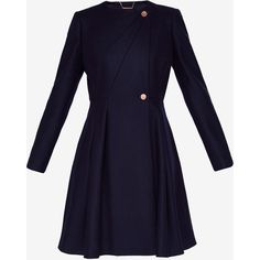 Ted Baker Full skirted wool coat (1,940 PEN) ❤ liked on Polyvore featuring outerwear, coats, wool coats, collarless wool coat, ted baker, collarless coats and woolen coat