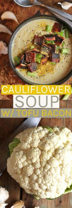 Creamy Cauliflower Soup with Tofu Bacon - vegan and gluten-free