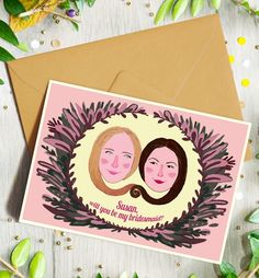 Asking your best friend to be a part of your wedding is a big deal. Why not personalize your request with the help of AlissaLevy via etsy.#weddingstationery