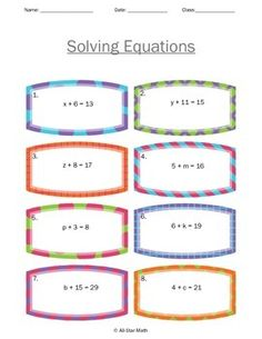 math worksheet : intro to algebra  adding and subtracting equations  equation  : Solving Equations By Adding Or Subtracting Worksheets