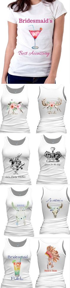Best Bridesmaid's Gifts! Custom Tanks, boy Shorts , Hoodies & Tees made to order just for you! No two are alike! Bridesmaid shirt, Team Bride Shirt, Bride shirt, Bridal Entourage Shirt, Bridal party Tank top, Bridal Party Shirts Set,Bride to Be, Bride, #Bridesmaidgifts