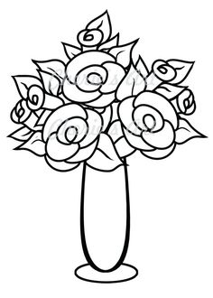 Line Art Flower Vase Digi Stamp Digital Download Printable Coloring Page Instant Floral Drawing Clipart