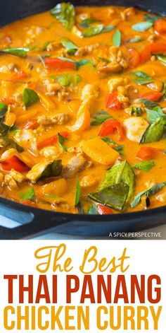 The Best Thai Panang Chicken Curry Recipe - The most amazing red chicken curry we've ever made! This light and healthy dish is better than any takeout option out there and it's easy to make. Crock Pot Recipes, Cooking Recipes, Oven Recipes, Red Curry Chicken, Panang Curry Chicken, Thai Panang Curry, Chicken Panang Recipe, Best Chicken Curry Recipe, Healthy Recipes