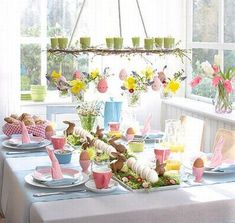 Spring Decoration for Easter Table. Several examples of Easter table decor and placeholders Easter Table Settings, Easter Table Decorations, Spring Decorations, Easter Decor, Diy Ostern, Easter Parade, Festa Party, Easter Celebration, Easter Holidays