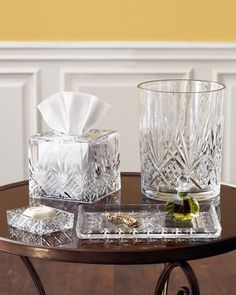 "Cut-crystal vanity accessories lend elegance to a dressing table or bathroom counter. ""Dublin"" Vanity Accessories"